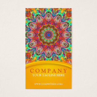 Mandala del pavo real del arco iris - amarillo tarjeta de negocios