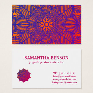 Mandala del profesor del instructor de la yoga de tarjeta de visita