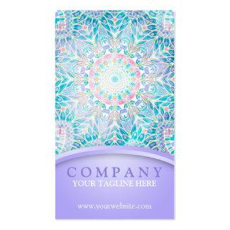 Mandala en colores pastel del copo de nieve - tarjetas de visita
