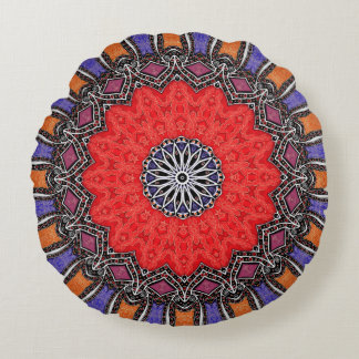 Mandala exótica colorida inspirada cojín redondo