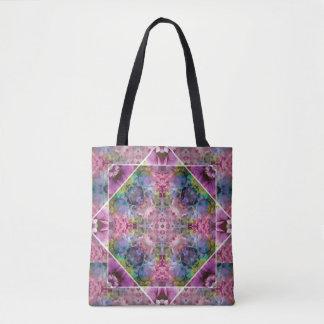 Mandala floral de color morado oscuro azul bolsa de tela
