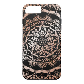 Mandala floral del negro color de rosa del oro funda iPhone 7 plus