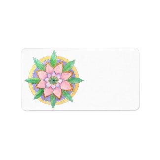 Mandala floral etiqueta de dirección