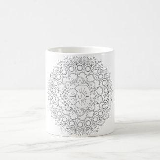 Mandala hermosa del vector, elemento modelado del taza de café