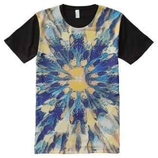 Mandala japonesa colorida del agua camiseta con estampado integral