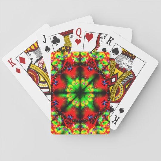 Mandala muy colorida de la ilusión baraja de cartas