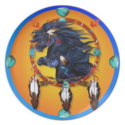Mandala negra de dos caballos platos