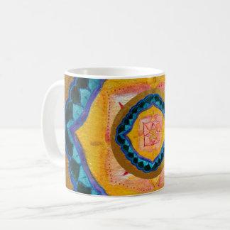 Mandala pintada a mano taza blanca clásica de 325