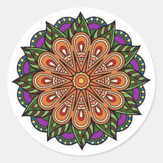mandala plant pegatina redonda