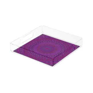 Mandala púrpura de la flor bandeja acrílica