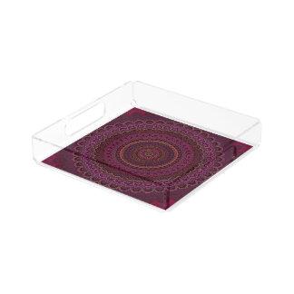 Mandala púrpura oscura bandeja acrílica