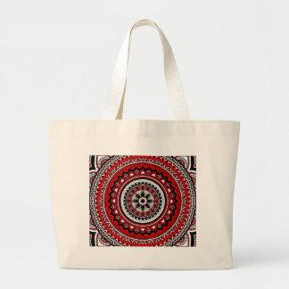 Mandala roja y negra bolsa de tela grande