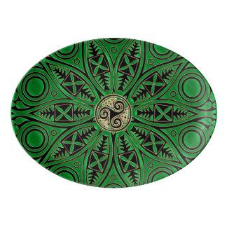 Mandala verde de Kelly Triskele Bandeja De Porcelana