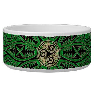 Mandala verde de Kelly Triskele Comedero Para Mascota