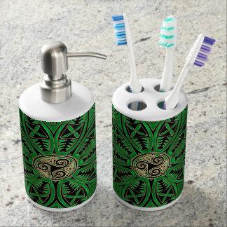Mandala verde de Kelly Triskele Vaso Para Cepillos De Dientes