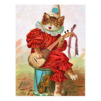 Mandolina del gato del músico del bufón del payaso postal