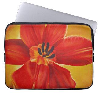 Manga abierta del ordenador portátil del tulipán funda para ordenador