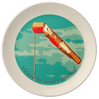 Manga de viento plato de porcelana