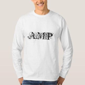 Manga larga blanca de A.M.P con del movimiento la Camiseta