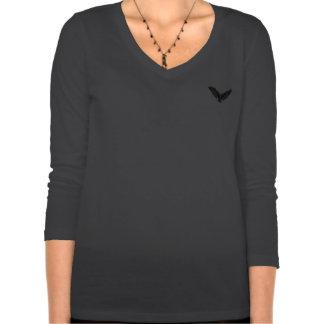 Manga larga de la tela cruzada para mujer camiseta