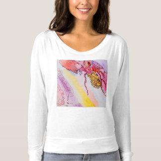 Manga larga w/design de Bela de las mujeres y de Camiseta