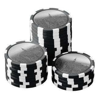Manhattan blanco y negro fichas de póquer