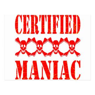 Maniaco certificado con los cráneos postal