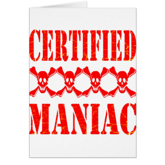 Maniaco certificado con los cráneos tarjeton