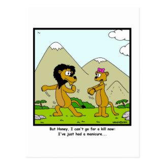 Manicura Dibujo animado del león y de la leona Postales