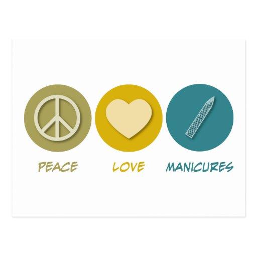Manicuras del amor de la paz tarjeta postal