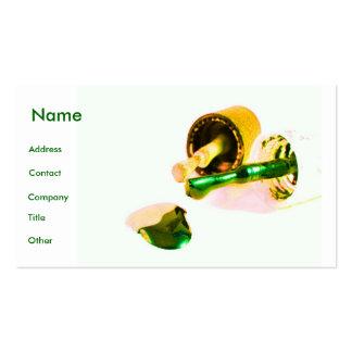 Manicuro en verde y oro tarjetas de visita
