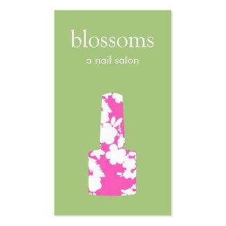Manicuro rosado y verde lindo del salón del clavo tarjetas de visita