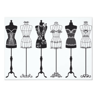 Maniquíes de la moda del vintage invitacion personal
