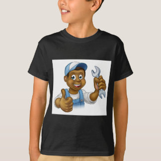 Manitas del mecánico o del fontanero con la llave camiseta