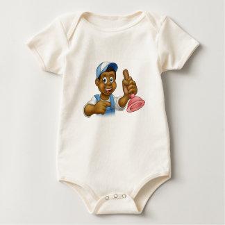 Manitas negra del fontanero con el hombre del body para bebé