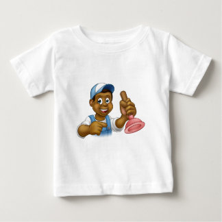 Manitas negra del fontanero con el hombre del camiseta de bebé