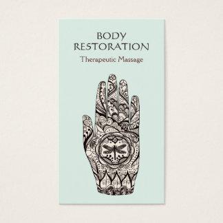 Mano 1 del tatuaje de la libélula de la alheña del tarjeta de negocios