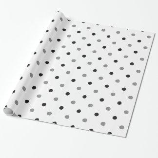 Mano blanco y negro de los lunares dibujada papel de regalo