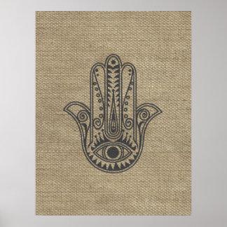 Mano de HAMSA del amuleto del símbolo de Fátima Póster