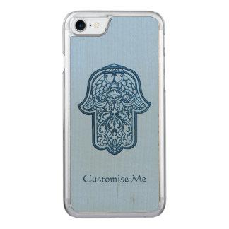 Mano de la alheña de Hamsa (azul) Funda Para iPhone 7 De Carved