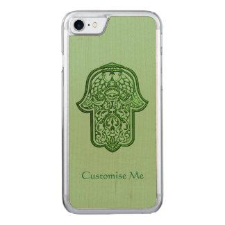 Mano de la alheña de Hamsa (verde) Funda Para iPhone 7 De Carved