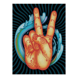 Mano de la paz de Swirly Póster