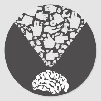 Mano del cerebro pegatina redonda