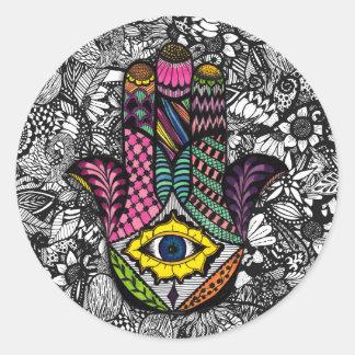 Mano dibujada mano colorida de Hamsa dibujos Pegatina Redonda