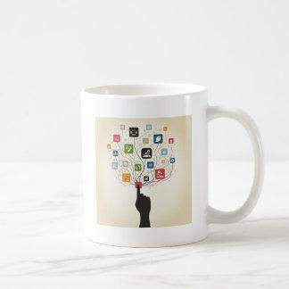 Mano en el botón taza de café