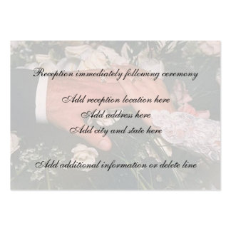 Mano en tarjeta de la recepción de la boda tarjetas de visita grandes
