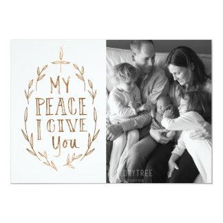 Mano-Indicado con letras mi paz le doy la tarjeta Invitación 12,7 X 17,8 Cm