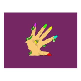 mano mágica con los clavos de los colores postal