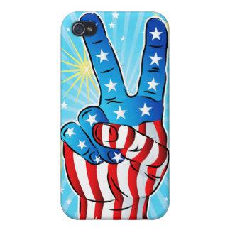 Mano patriótica de la paz de la victoria con las e iPhone 4 cárcasas