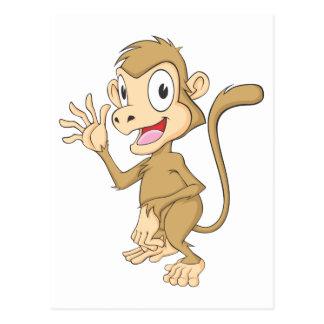 Mano que agita del mono lindo hola hola adiós postal